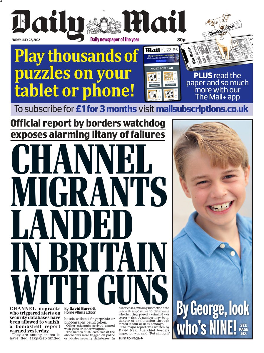 Today's Daily Mail Front Page
