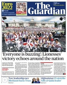 Today's Guardian front page with access to full print edition of the newspaper online